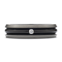 Commanding Black Titanium Dome Bevel Band